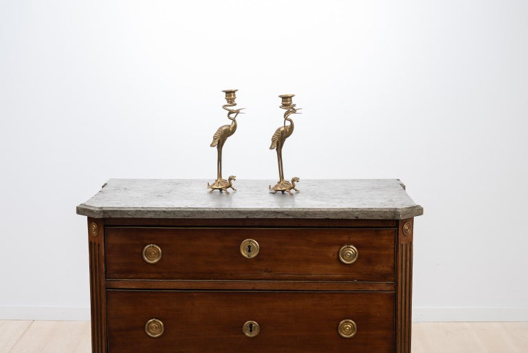 Unusual candlesticks in brass manufactured during the 1880s. The candlesticks are in the form of two golden flamingos standing on top of a turtle-like creature. The flamingo holds a snake in its beak that then proceed to curl around the candleholder.