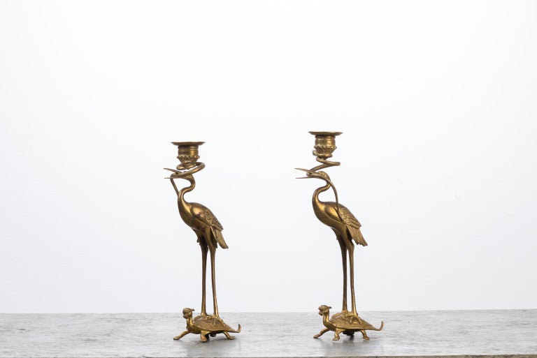 Swedish Brass Flamingo Candlesticks from the 1880s For Sale