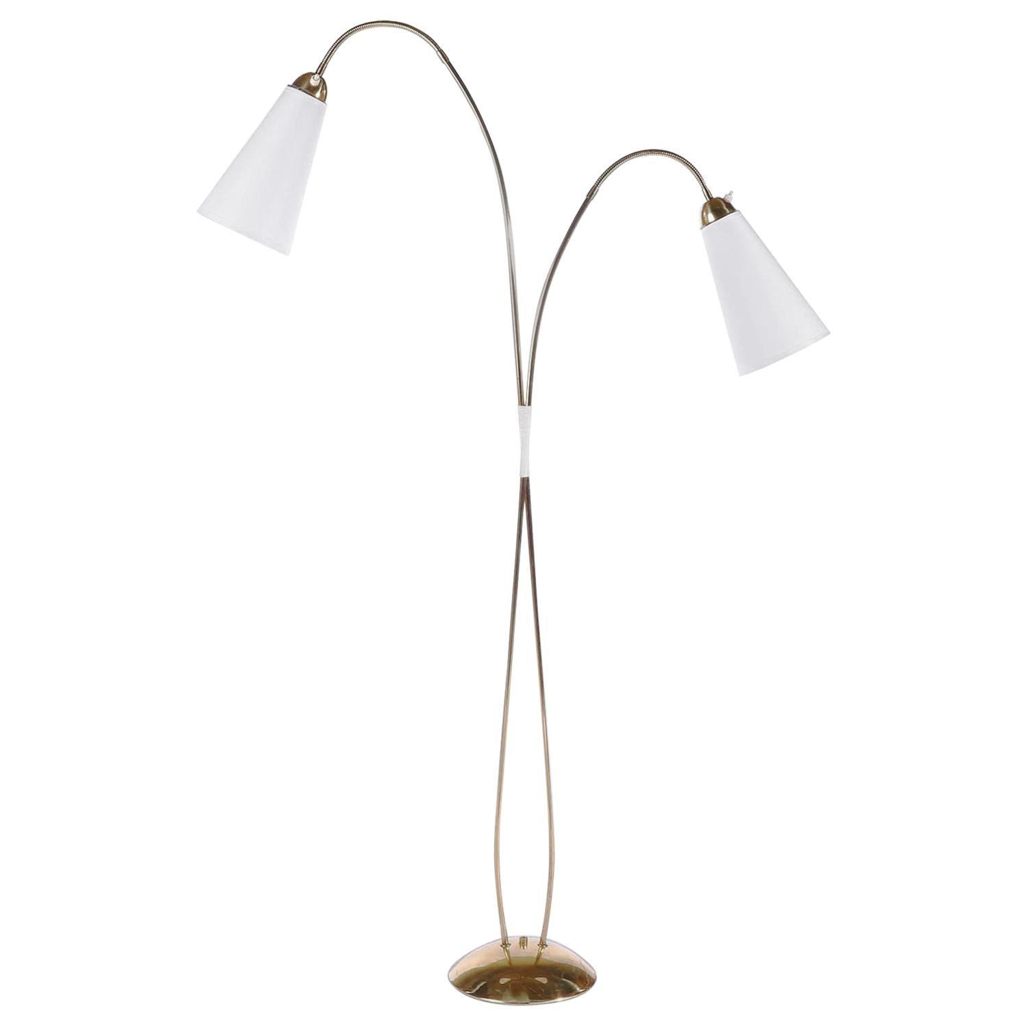 Brass Floor Lamp by Rupert Nikoll, Flexible Arms, Austria, 1960
