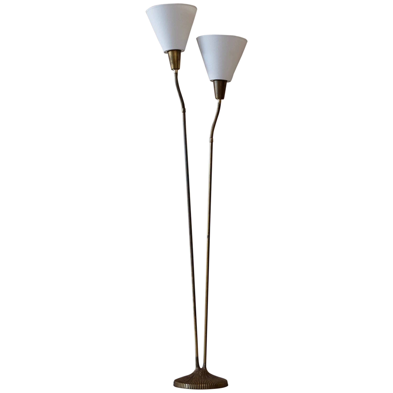 Brass Floor Lamp by Sonja Katzin for ASEA, Sweden, 1950s