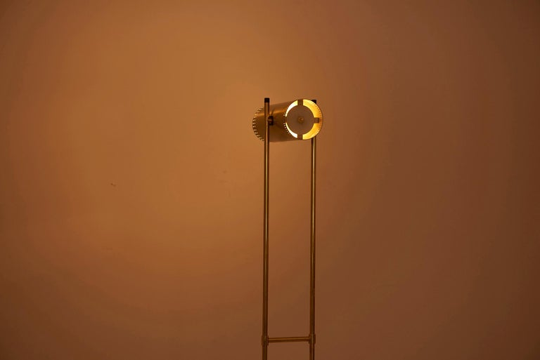 Brass Floor Lamp 'Trombone' by Jo Hammerborg for Fog & Mørup, Denmark, 1960s For Sale 4