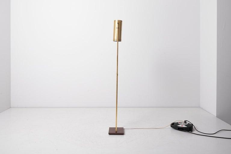 Scandinavian Modern Brass Floor Lamp 'Trombone' by Jo Hammerborg for Fog & Mørup, Denmark, 1960s For Sale