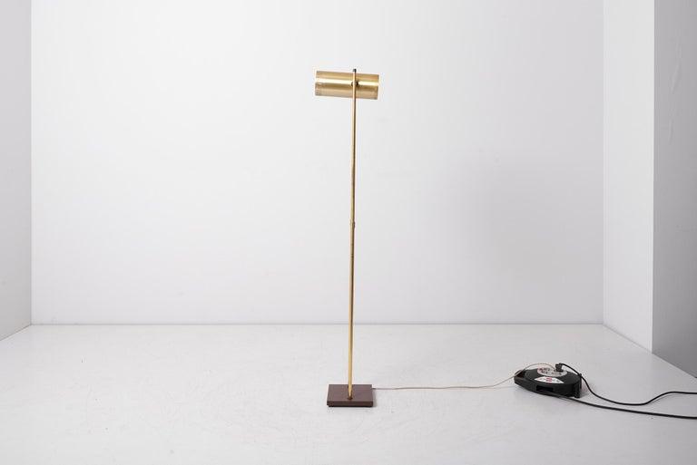 Brass Floor Lamp 'Trombone' by Jo Hammerborg for Fog & Mørup, Denmark, 1960s For Sale 2