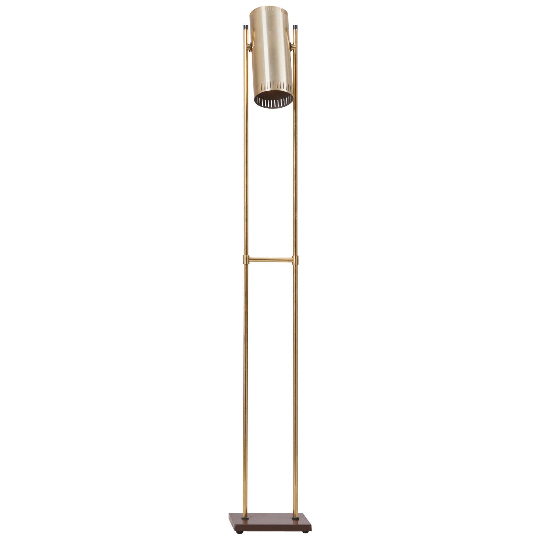 Brass Floor Lamp 'Trombone' by Jo Hammerborg for Fog & Mørup, Denmark, 1960s
