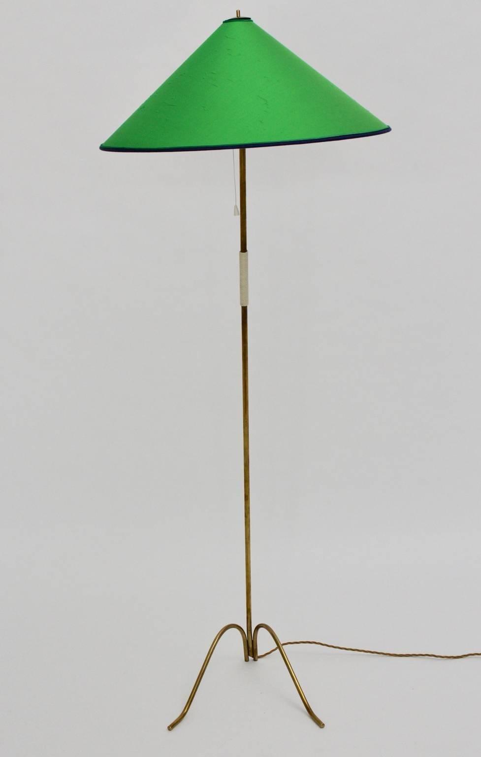Mid Century Modern Brass Floor Lamp Green Lampshade By Rupert Nikoll 1950 Vienna