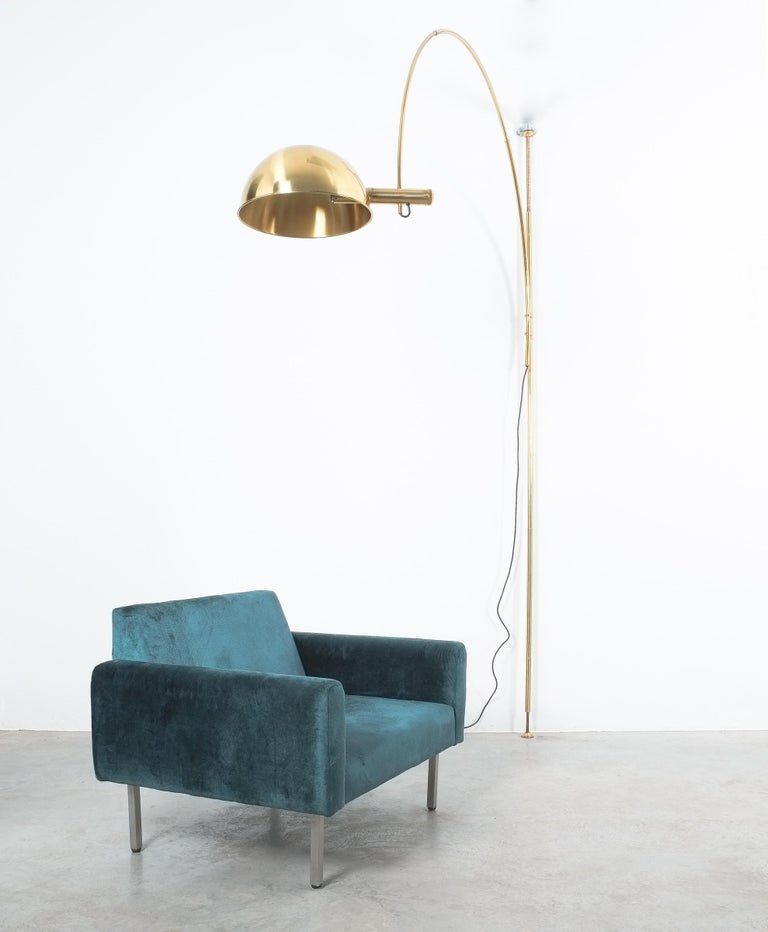 German Brass Floor Lamp with Adjustable Arc by Florian Schulz, 1970 For Sale
