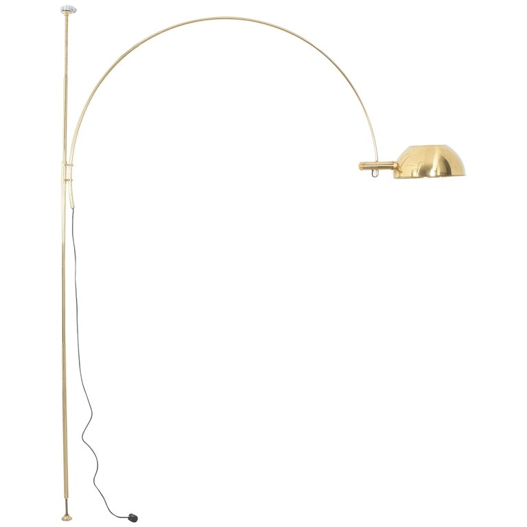 Brass Floor Lamp with Adjustable Arc by Florian Schulz, 1970 For Sale