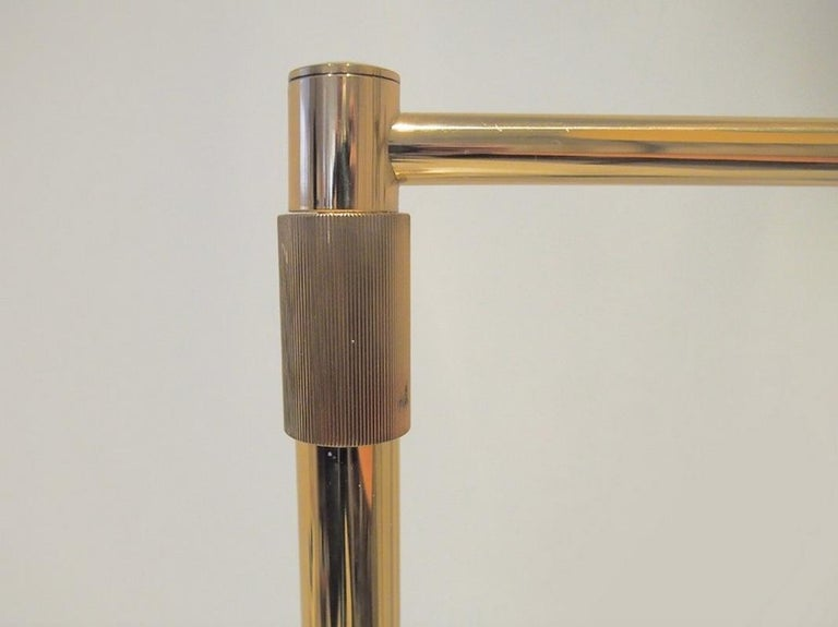 Brass Floor Lamp with Adjustable Arm and Cream Color Shade In Good Condition For Sale In Madrid, ES