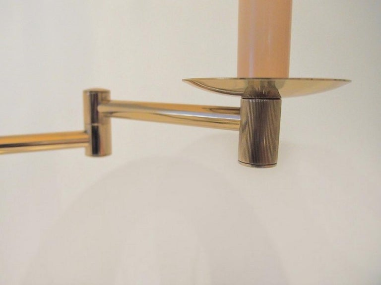 20th Century Brass Floor Lamp with Adjustable Arm and Cream Color Shade For Sale