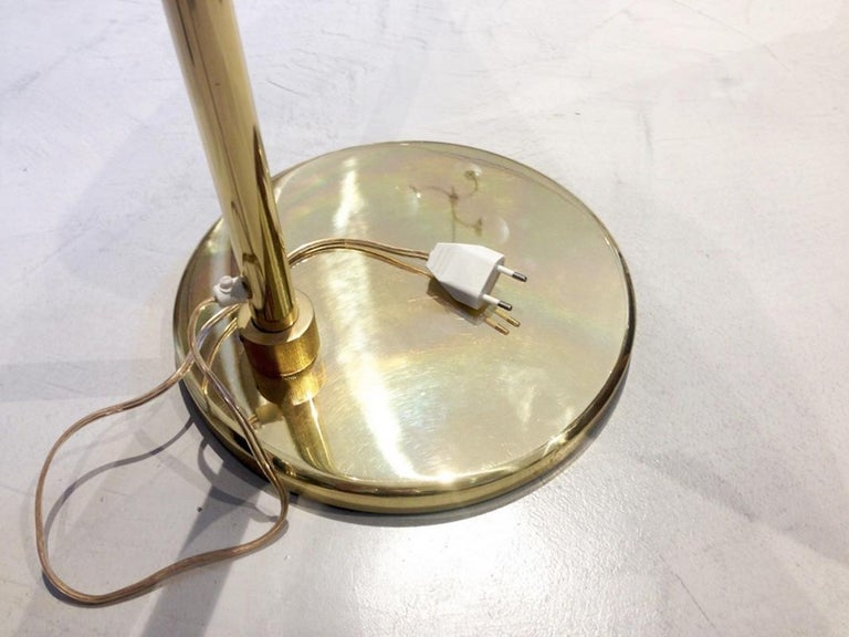 Brass Floor Lamp with Adjustable Arm and Cream Color Shade For Sale 1