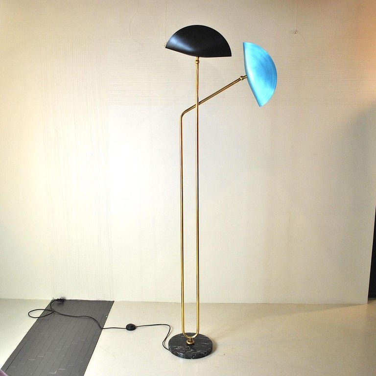 Brass Floor Lamp with Marble Base by Cellule Creative Studio  7