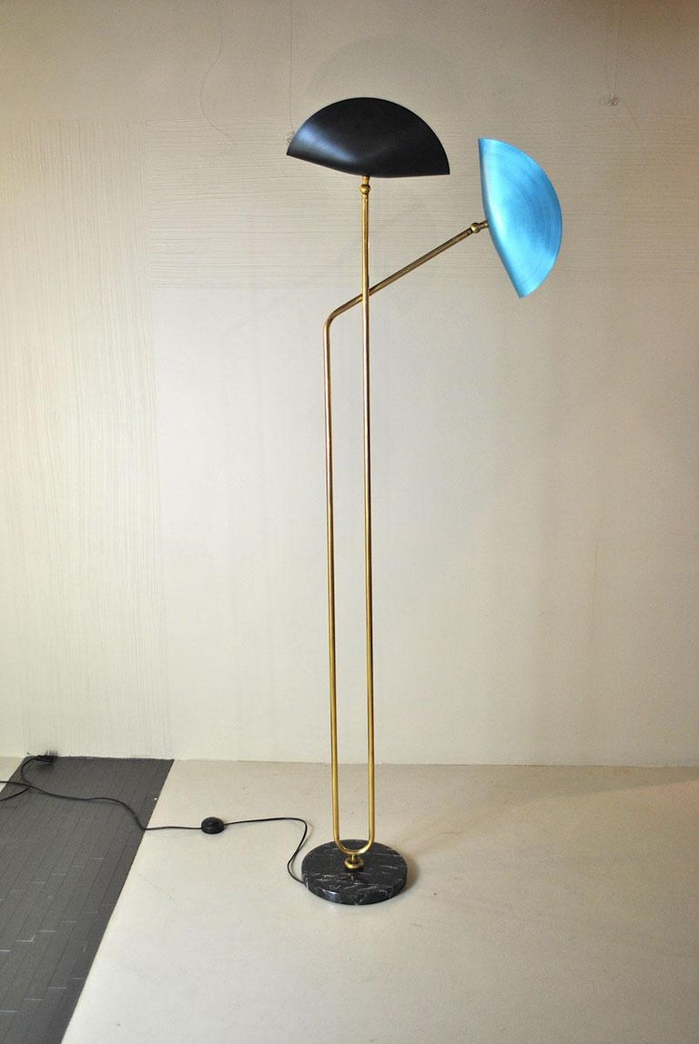 Brass Floor Lamp with Marble Base by Cellule Creative Studio  8