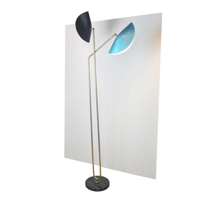 Italian floor lamp in brass and marble base, designed by Cellule Creative Studio for Gallery Misia Arte.  Misia Arte is an historic Italian gallery in business for 40 years, always active in the design and decorative arts scene.