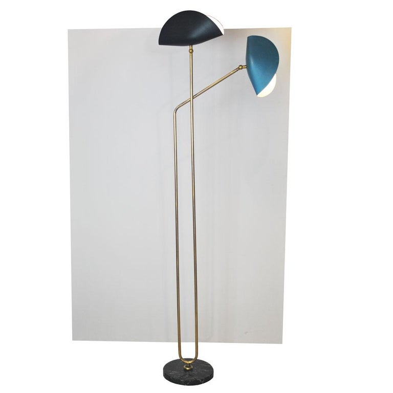 Modern Brass Floor Lamp with Marble Base by Cellule Creative Studio