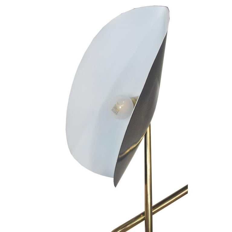 Contemporary Brass Floor Lamp with Marble Base by Cellule Creative Studio