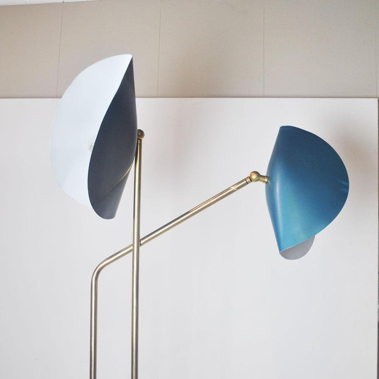 Brass Floor Lamp with Marble Base by Cellule Creative Studio  1