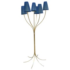 Brass Floor Lamp with Our Handcrafted Double Color Lampshades, 1970s