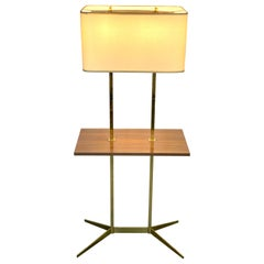Brass Floor Lamp With Tray attributed to Stiffel