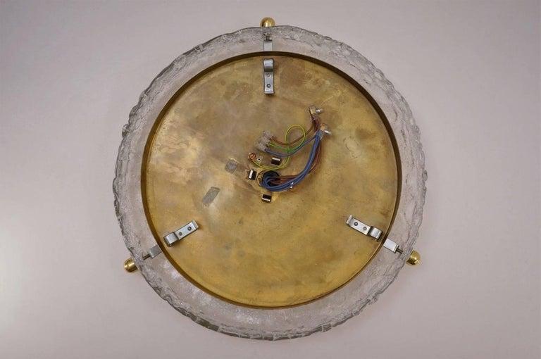 Brass Flush Light With Glass Shade Hillebrand Circa