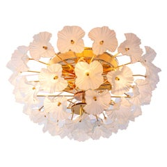 Brass Flush Mount Chandelier with Glass Flowers, Germany, 1970s