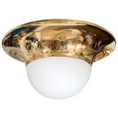 Brass Flushmount Fixture with Frosted Globe Shade