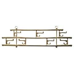 Brass Foldable Wall Rack Midcentury