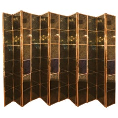 Brass Folding Screen Featuring Inset Vintage Ceramic Panels