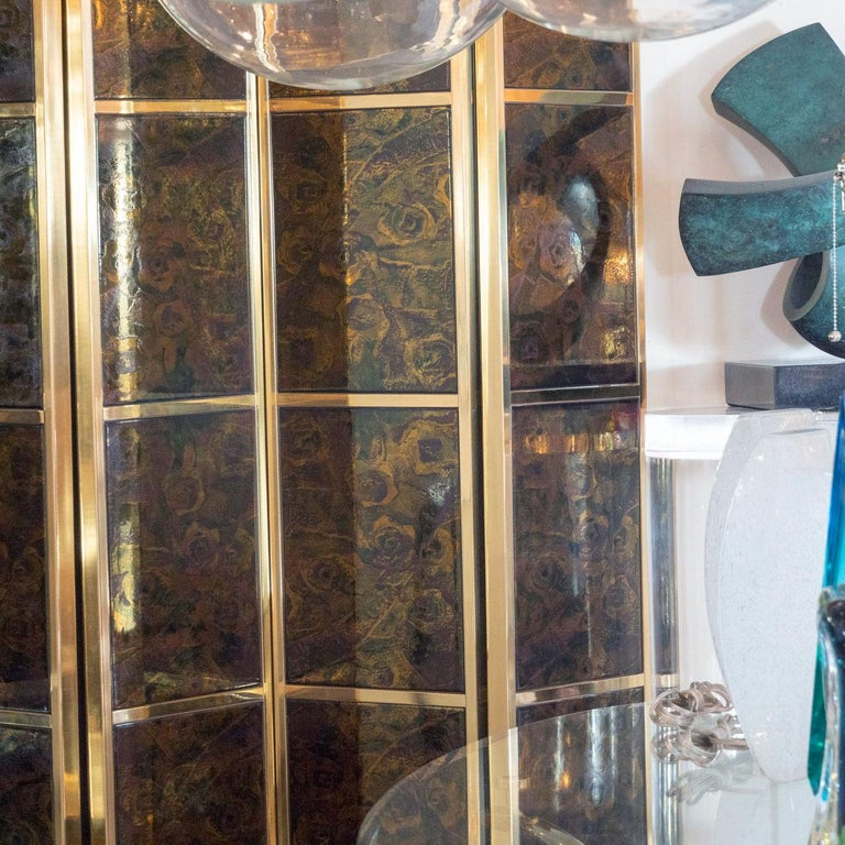 Mid-Century Modern Brass Folding Screen with Inset Vintage Ceramic Panels For Sale