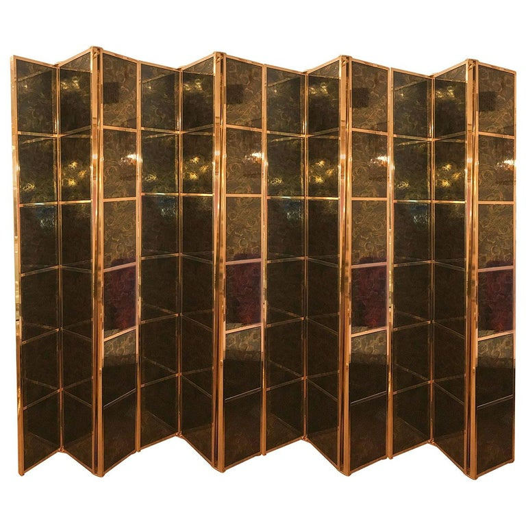 Brass Folding Screen with Inset Vintage Ceramic Panels For Sale