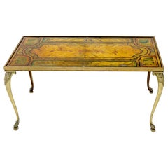 Brass Frame and Legs Painted Marble-Top Rectangular Coffee Table