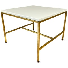 Brass Frame and Vitrolite Top, Side Table by Paul McCobb, Directional