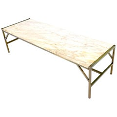 Brass Frame Marble Top Rectangular Coffee Table McCobb Attributed
