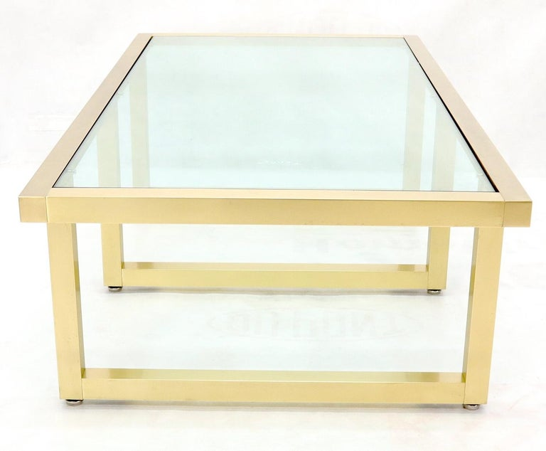 Brass Frame Shape Base Glass Top Rectangular Coffee Table For Sale 4