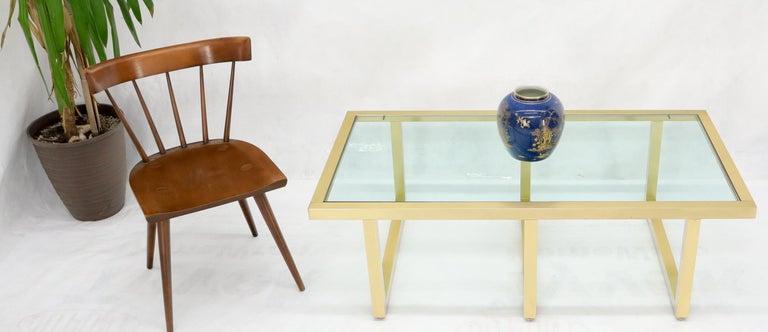 Mid-Century Modern Brass Frame Shape Base Glass Top Rectangular Coffee Table For Sale