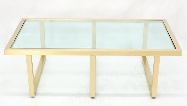 American Brass Frame Shape Base Glass Top Rectangular Coffee Table For Sale