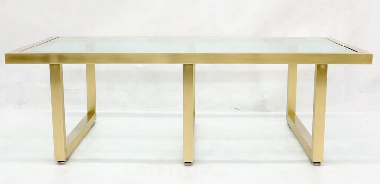 Brass Frame Shape Base Glass Top Rectangular Coffee Table In Excellent Condition For Sale In Rockaway, NJ