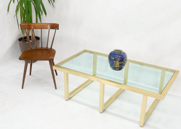 20th Century Brass Frame Shape Base Glass Top Rectangular Coffee Table For Sale