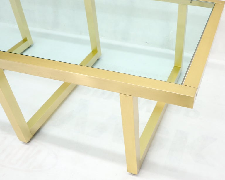 Brass Frame Shape Base Glass Top Rectangular Coffee Table For Sale 1