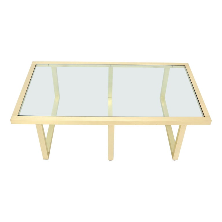 Brass Frame Shape Base Glass Top Rectangular Coffee Table For Sale