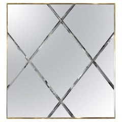 Brass Frame with a Harlequin Pattern Beveled Glass Wall Mirror