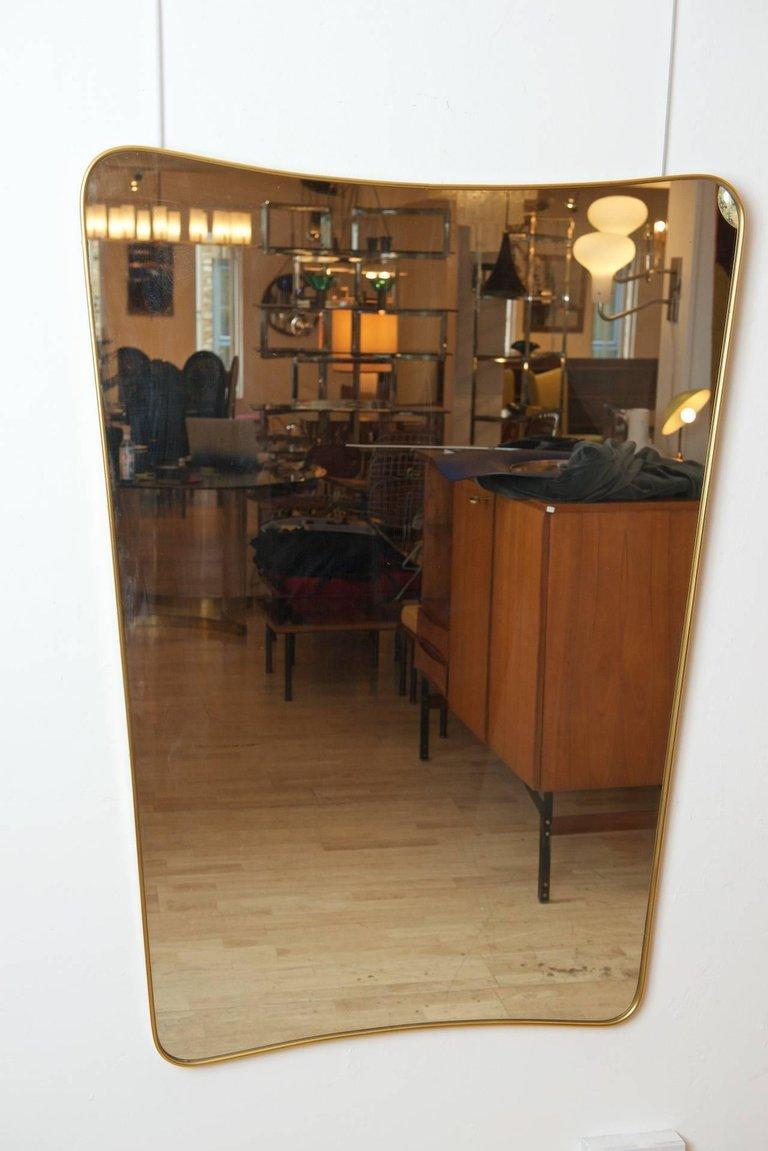 Mid-Century Modern Brass Framed Mirror For Sale