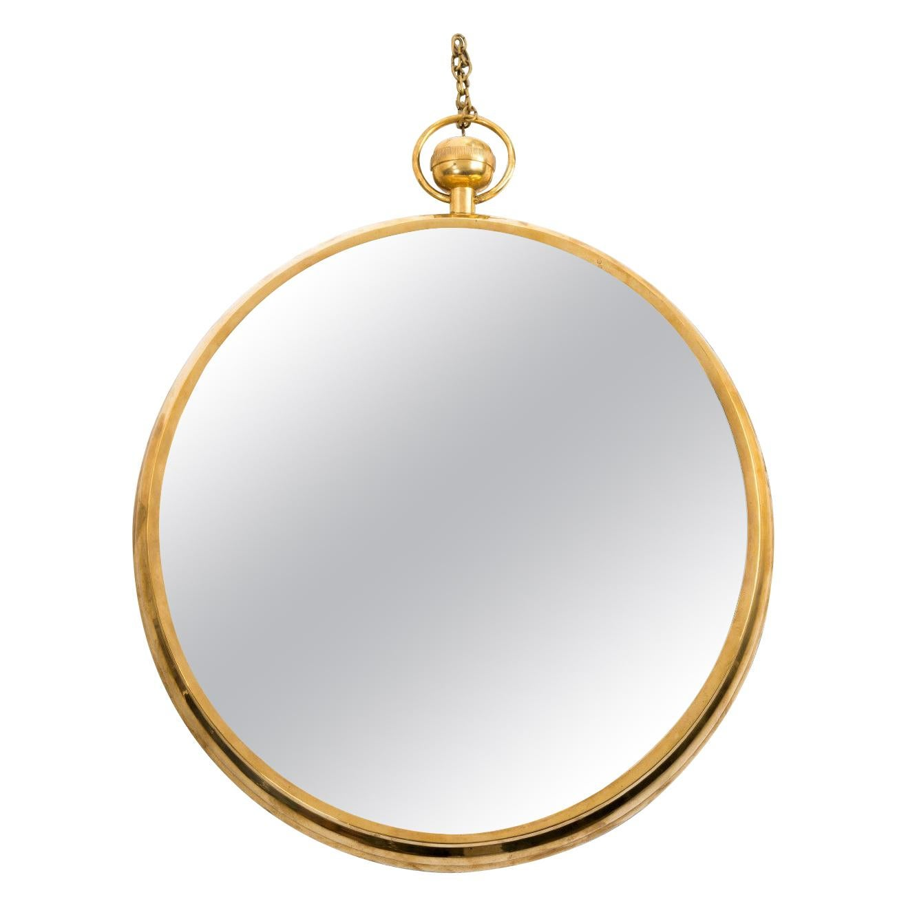 Mid Century Modern Brass Framed Mirror in the Manner of Fornasetti