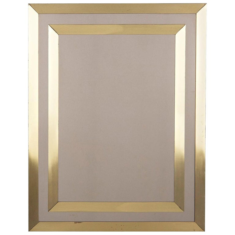 Modern Brass Framed Mirror with Smoked Glass, France, 1970s For Sale