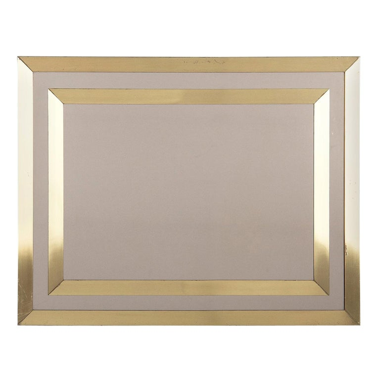 Brass Framed Mirror with Smoked Glass, France, 1970s For Sale
