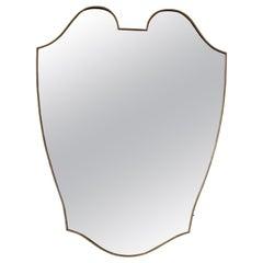 Brass Framed Shield Mirror, Italy, 1950s