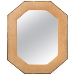Brass Framed Upholstered Octagonal Mirror by John Widdicomb