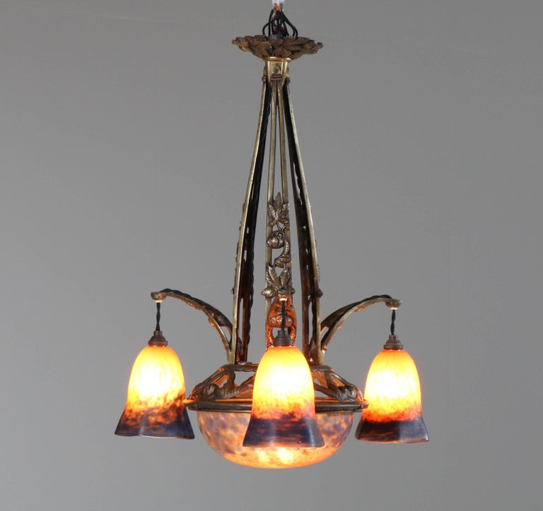 Brass French Art Deco Chandelier with Pate de Verre Glass Shades Muller Style In Good Condition For Sale In Amsterdam, NL