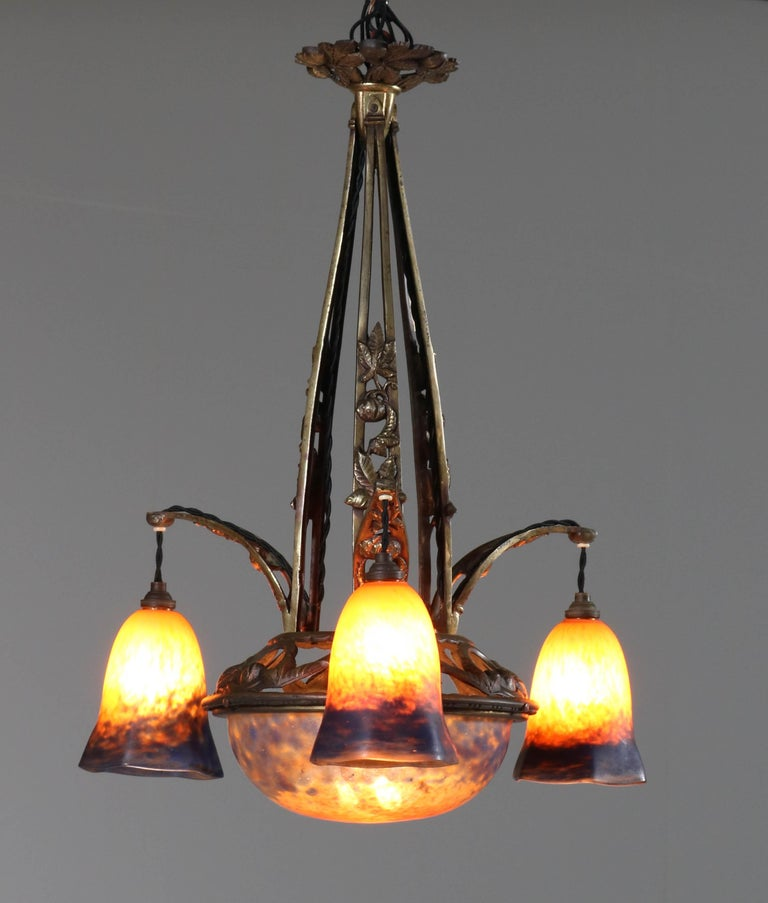 Mid-20th Century Brass French Art Deco Chandelier with Pate de Verre Glass Shades Muller Style For Sale