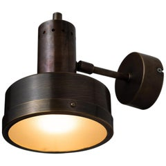 Brass and Frosted Glass Directional Sconce