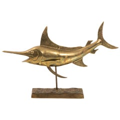 Brass Full Body Sail Fish Sculpture